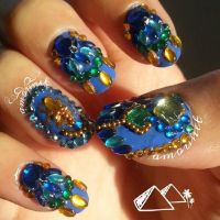 Ancient Egyptian Scarab nail art by amanda04
