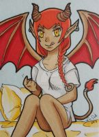 Comm: Lilly the Succubus ACEO by LadyNin-Chan