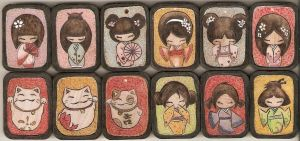 Kokeshi Charms by Aliehs