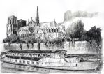 For sale - Cathedral Notre-Dame and Seine river by nicolasjolly