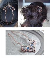 Copper wire wrapped hair fork with kyanit by Sabi-Krabi