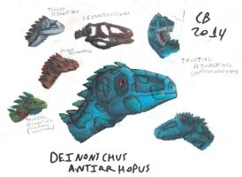 TODS: Deinonychus Head Sketches by GeneralHelghast
