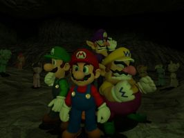 Mario and others trapped in cave by OudieTH