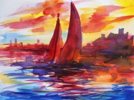 Sail off into the sunset by Mishelangello