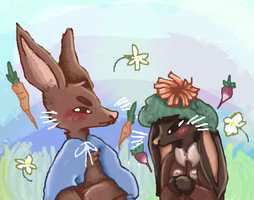 peter rabbit and benjamin bunny by pinuh