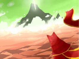 Red Cloak in the Pink Desert by ArcaneAvis