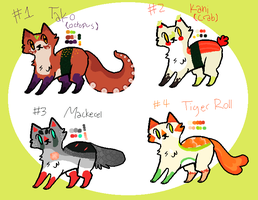 Sushi Cat Adoptables { CLOSED } by KittenSkullsBoutique