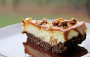 Cheesecake with caramel topping and walnuts by PetiteAffaire