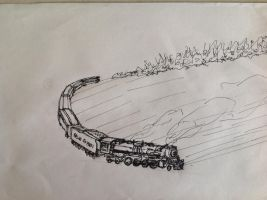 polar express on frozen lake by drawing425