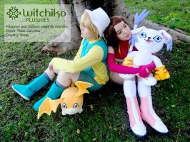 Patamon and Tailmon plushies:::Client by Witchiko