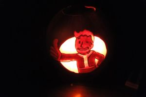 Fallout Vaultboy Jack-O-Lantern by DJdrummer