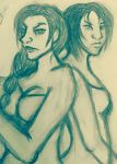 Valkyrie and Sayomi - Character Concept Sketch by xXPharaohKissesXx
