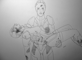 ME Redemption: Liara with Ripley Shepard by wolfy90