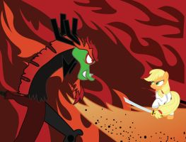 Samurai Applejack vs Draconequus Aku by cxfantasy