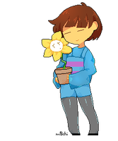 frisk with flowey by m-0-c-h-i