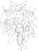 W.I.P Eeveelutions by JenniferJK