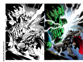 Coloring side-by-side / Hulk Vc Thor - Marvel by andreranulfo