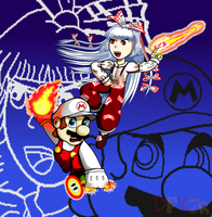 Mario and Mokou by DFKJR
