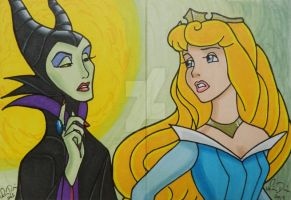 Maleficent and Aurora Double ACEO Set by LadyNin-Chan