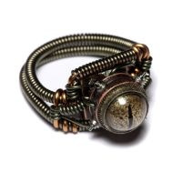 Steampunk Ring golden eye 2 by CatherinetteRings