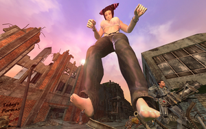 Giantess Juri vs. Power Armor by GenSamus