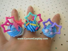 Blue star candy rings by The-Cute-Storm