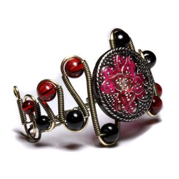 steampunk bracelet red black by CatherinetteRings