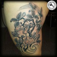 thigh tattoo by arturtattooart