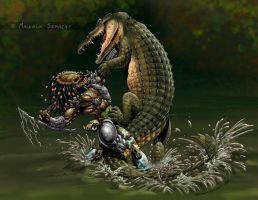 Predator vs Croc colours by MalSemmens