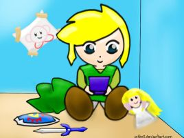 Link playing Gameboy by Zelda5