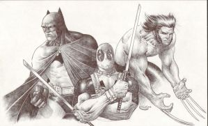 Pen sketch Batman Deadpool Wolverine by Sajad126