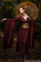Burgundy dress and gold steampunk corset by Esaikha