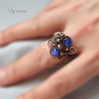 Wire wrapped ring with blue beads by artual