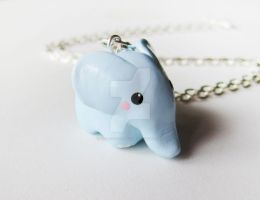 Cute Baby Blue Elephant Charm Necklace by mAd-ArIsToCrAt