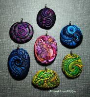 Polymer Clay Pendant Assortment Feb 2014 by MandarinMoon