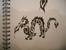 Tribal Chinese Dragon by mikaylamettler