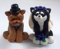 Dogs Wedding Cake Topper by HeartshapedCreations