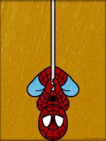 Spiderman hanging in the rain by haydenyale