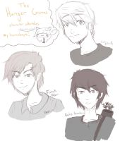 Hunger Games -The Guys sketches by DemonCatGuardian