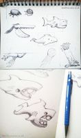 Sea Creature Sketches by Brainfruit