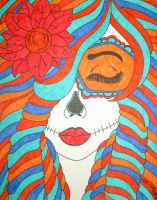 Blue and Orange Skull Girl by ToniTiger415