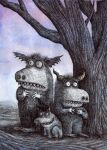 Three creatures find solace under a tree. by dainfagerholm