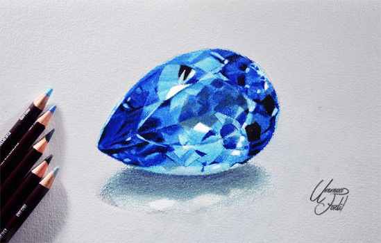 Blue topaz -- Derwent coloursoft pencils. by f-a-d-i-l