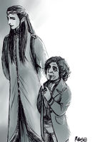 Lindir and Bilbo Baggins by MellorianJ
