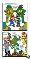 Teenage Mutant Ninja Turtles vs. Super Mario Bros. by TuxedoMoroboshi