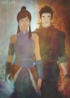 Korra and Mako by Nikmarvel