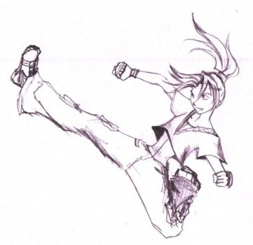 Downward aerial kick by cynical-idealist