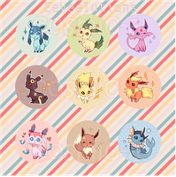 Buttons - Eevees by cosmic-a