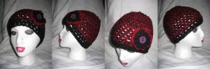 Red and Black Toque W' Flower by MaryCrochets