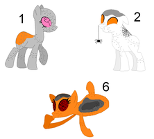 Picture Adoptables: Hatched Robots 1, 2, and 6. by Literate-Adopts